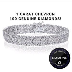 Jewelry - 1 Carat Genuine Diamond Chevron Tennis Bracelet